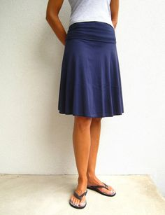 Knee Length Cotton Blend Skirt / Fold Over Waistband / Navy / Black / Red / Heather Gray / Yoga / Summer / Fall - Made to Order