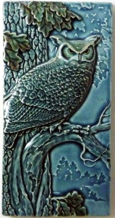 Decorative wall tile, ceramic tile, Night Shift, great horned owl, tile, wall art, wall hanging, home decor. by MedicineBluffStudio on Etsy