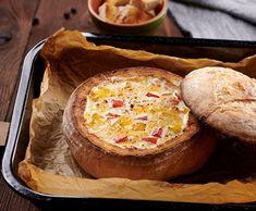 Syrové fondue v chlebe Fondue, Camembert Cheese