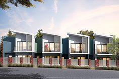 Completion nears for Rockingham apartment, townhouse development - Access Housing Row House Design, Duplex House Design, Modern House Design, Townhouse Exterior, Modern Townhouse, Modern Exterior, Exterior Design, Casa Patio, Villa