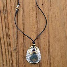 Labradorite on Hammered Sterling Necklace