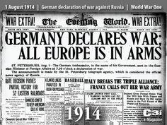 1er Août 1914 L'Allemagne déclare la guerre a la Russie/ 1 August 1914German declaration of war against Russia