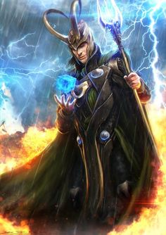Day 13: Loki Ship --- I don't ship Loki with anyone. He has a wife, she's pretty badass. Feelings kinda end there. So instead of a Loki ship pic, enjoy this epic fan art!