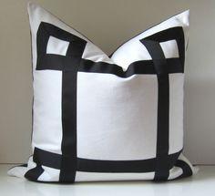 Black and White Pillow - 20 - 22 - 24 inch - Decorative Pillow - Black Ribbon embellishment - euro sham - made to order