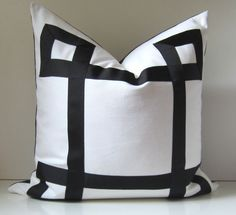 Black and White Pillow - 20 - 22 - 24 inch - Decorative Pillow - Black Ribbon embellishment - euro sham - made to order