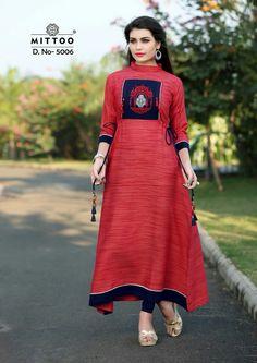 Brand Name : Mittoo Fabric : khadi Rayon Size : XXL 👉Rate = shipping Kurta Designs, Blouse Designs, Simple Dresses, Casual Dresses, Fancy Kurti, Dress Neck Designs, Mode Hijab, Lehenga, Anarkali
