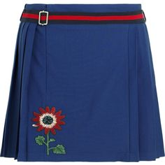 Gucci for NET-A-PORTER Floral-appliquéd wool-blend mini skirt ($855) ❤ liked on Polyvore featuring skirts, mini skirts, gucci, blue, blue striped skirt, pleated skirt, royal blue skirt, floral skirt and striped skirt