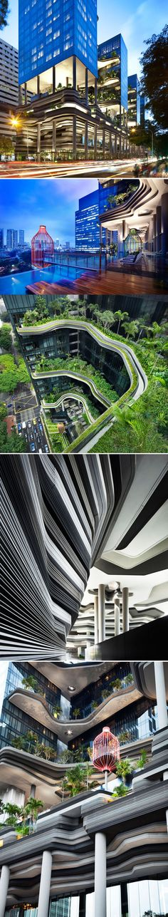 Park Royal Hotel Singapore by WOHA Architects_The building-as-garden concept was responds perfectly to the intricacies of the city- it is a botanical wonder comprised of intertwining natural and technological systems. Thanks to its innovative and sustainable design, Park Royal on Pickering has been awarded the BCA Green Mark Platinum-the highest rating for green buildings in Singapore, and the Solar Pioneer Award as one the first buildings in the hospitality sector to use harvest solar…