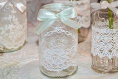 Vintage Windlicht, Teelicht-Glas mit Spitze von Vintage-Wedding & Love auf DaWanda.com