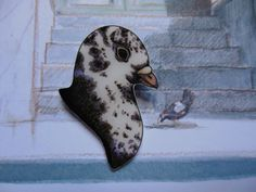 Speckled Pigeon Illustrated Brooch on Etsy, £6.50