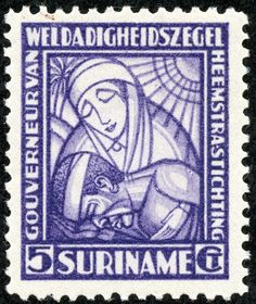 "Surinam  1928 Scott B6 5c (+3c) violet ""Nurse and Patient"""