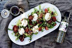 Hvitløkbrød Comfort Food, Creme Brulee, Vinaigrette, Bruschetta, Cobb Salad, Bacon, Salads, Ethnic Recipes, Fett