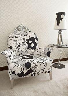 Pop Art features in interior design - interior design ideas in the style - pop art armchair comics - Art Furniture, Funky Furniture, Furniture Upholstery, Upcycled Furniture, Unique Furniture, Upholstered Chairs, Furniture Makeover, Painted Furniture, Furniture Design