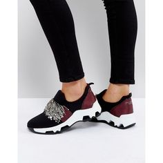 SixtySeven Black Embellished Sneakers ($127) ❤ liked on Polyvore featuring shoes, sneakers, black, slip-on sneakers, black slip-on shoes, embellished sneakers, metallic shoes and black trainers
