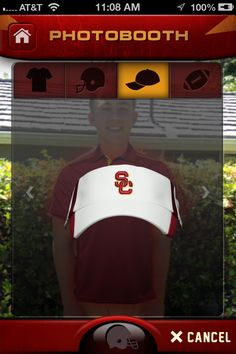 Photobooth - take or load a photo from your gallery and decorate it with Official USC Clothing and Accessories.