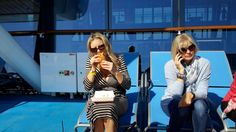 GoCruise onboard #AnthemoftheSeas grabbing a hot dog outside Seaplex our Bridget makes a call #workinglunch #royalwow