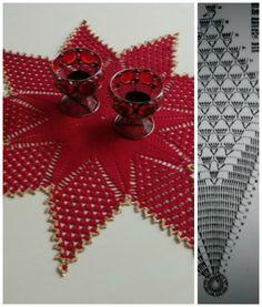 """icu ~ Centro de mesa """"Estrela"""", em c Crochet Stars, Crochet Snowflakes, Thread Crochet, Crochet Leaves, Crochet Needles, Crochet Cross, Filet Crochet, Crochet Doily Diagram, Crochet Doilies"""