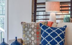 Neutral colors accented with pops of blue, orange, and yellow in this transitional Park Cities Living Room | Dallas, TX | 75225 | Michelle Lynne Interiors Group | MLInteriorsgroup.com