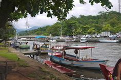 Paraty - Part 1 - colorful boats lined up and ready to set sail  #paraty #travel #brazil #boats