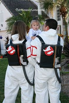 I've seen Ghostbusters costumes a million times, but never with a cute little toddler ghost!