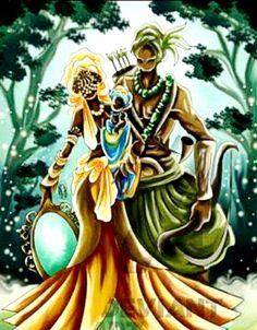 """universodecores2: """" """" Com seu Odé na mata, meu Orixá de fé, nas águas da mãe Oxum foi se banhar. E essa linda deusa negra, se olhou no abebé e viu que o seu amor era Oxóssi Okê Odé Okê! """" """""""