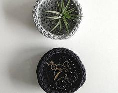 Small black minimalist and modern crochet bowl, crocheted basket for home & desk organization, air plant holder