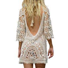3bcf50d8ac Womens Bathing Suit Cover Up White Backless Crochet Bikini Swimsuit by  Jeasona White One Size ** Check out this great product.