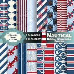 Nautical Bundle - Digital Paper with clipart Art Clipart, Clipart Images, Shop Logo, Paper Clip, Digital Scrapbooking, Nautical, Clip Art, Handmade Gifts, Etsy