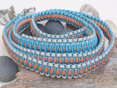Reflective Grey, Orange and Turquoise Dog Lead