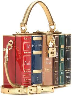 You love reading books? You are a bit nerdy but love fashion? Perhaps it's time to match a bag to your personality and perhaps its time to let the world know. Carry the Dolce & Gabbana Dolce Bo… Mode Lolita, Sacs Design, Librarian Chic, Gifts For Readers, Book Nerd, Gift For Lover, Purses And Handbags, Fashion Handbags, Leather Shoulder Bag