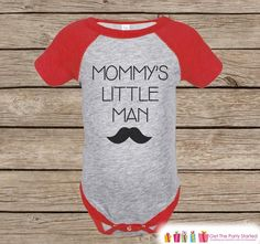 Baby Boy Outfit - Red Raglan Shirt - Mommy's Little Man Mustache Onepiece or Tshirt - Happy Mothers Day Gift - Boys Raglan Tee - Little Man