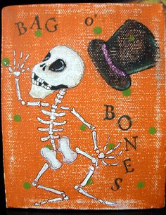 Bag o' Bones Skelly Mixed Media Painting by bywayofsalem on Etsy, $22.00