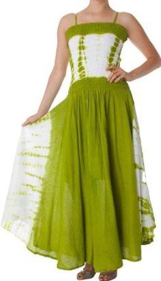 AA632 - 2-Tone Tie Dye Sleeveless Smocked Top Guazy Long Dress - Green/One Size Nice flow