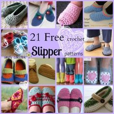 21 Awesome Free Slipper #Crochet Patterns for everyone from baby to mom & dad, compiled by Simply Collectible.