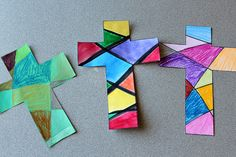 Bible Crafts: Easy Cross Craft for Easter Bible Crafts, Paper Crafts, Vbs Crafts, Easter Crafts For Kids, Easter Ideas, Easter Art, Kids Church, Church Ideas, Catholic Kids