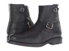 Frye - Brayden Engineer (Black Washed Tumbled Full Grain) Men's Boots