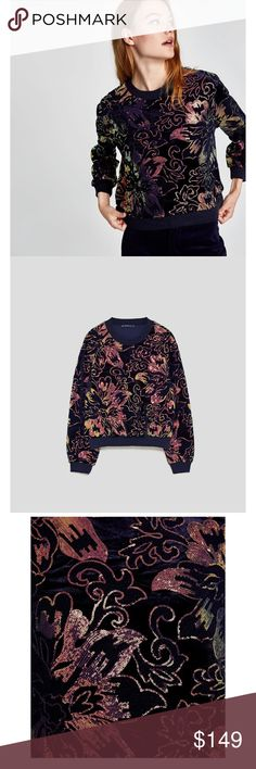 Zara Woman Velvet Sequined Sweater Brand new with tags Zara Sweaters