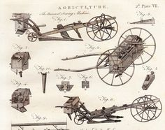 Antique Agriculture Farming Print . 2nd Plate VII . copper engraving encyclopedia britannica dated 1797 old vintage art . plough, sowing