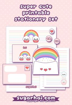 Super cute free printable stationery set with three cupcake writing sheets, two rainbow envelopes, and candy sprinkle envelope liner.