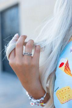 Blogger The Blonde Book sporting a simple, sparkling PANDORA ring style. #PANDORAring #PANDORAstyle