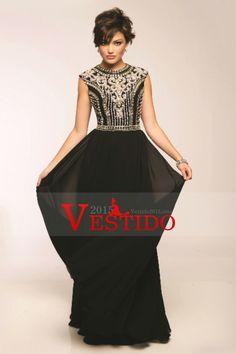 2015 Gasa Color Negro Nueva vestidos de baile Una línea de alta cuello palabra de longitud