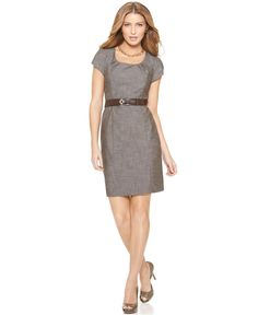 Jeannie?  $39.98  AGB Dress, Cap Sleeve Belted Textured Sheath - Womens Dresses - Macy's