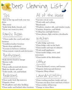 Check out this deep cleaning list for great tips on cleaning your entire house! Deep Cleaning Lists, House Cleaning Checklist, Household Cleaning Tips, Diy Cleaning Products, Cleaning Solutions, Cleaning Hacks, Cleaning Schedules, Room Cleaning Tips, Spring Cleaning List