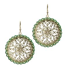 """Kalinda Earrings, by KL Collection.  Was $35 now $18.  The Kalinda earrings ensure the party goes wherever you go! 2"""" flat round discs feature open scrollwork and two hues of green silk thread woven around the edges. """"Going green"""" never looked so good."""