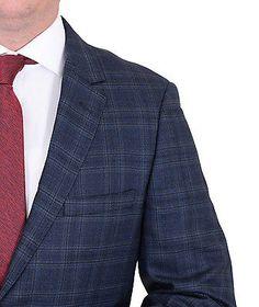 Мужская современные подходят голубой плед две кнопки супер 150's шерстяной костюм