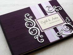 Eggplant and Lilac Wedding Guest Book with Swirl Embellishments (made to order) on Etsy, $47.00
