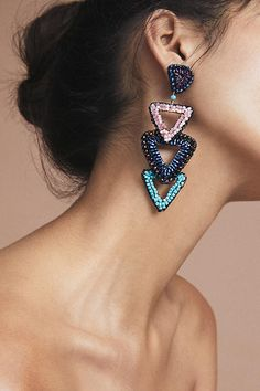 Slide View: 3: Beaded Triangle Drop Earrings