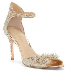 Add shine to your shoes, in these chic pumps accented with open sides and an adjustable buckle closure. Gold Glitter Shoes, Gold Pumps, Glitter Dress, Ankle Strap Shoes, Open Toe Shoes, Bridal Shoes, Wedding Shoes, Evening Shoes, Crazy Shoes