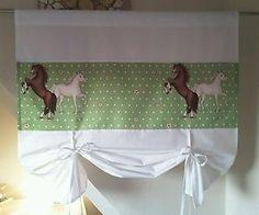 Kinder-Raffrollo-Raffgardine-fuer-Kinderzimmer-B-L-105-125-Pferde-Muster