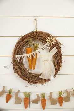 Easter: Banner with carrots & rabbit & wreath